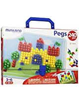 "Miniland 10mm 3/8"" Pegs with 6-Worksheets and Suitcase, 240-Piece"