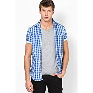 Checks Blue Slim Fit Casual Shirt