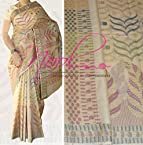 Nool Indian Cream Pure Tussar Silk Saree Handloom Weaved Traditional StyleVY.4.4