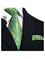 Landisun Lan-9717 Silk Necktie Set {Greens Paisleys}