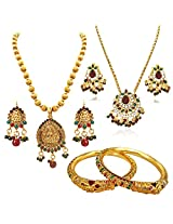 Surat Diamonds Traditional Goddess Motif Coloured Stone & Gold Plated Necklace Earring Sets with Lion Faced Enamelled Bangles for Women (H1422)