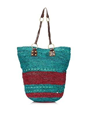 Florabella Women's Cayman Crochet Raffia & Leather Tote (Turquoise/Plum)