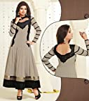 Georgette Grey Semi Stitched Long Anarkali Suit