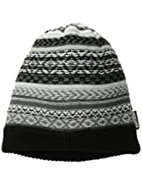 Muk Luks Men's Reverse Fairisle Textured Slouch Beanie, Black/Grey, One Size