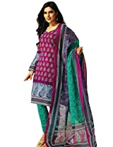 Jevi Prints Multicolor & Green Unstitched Cotton Dress Material with Dupatta