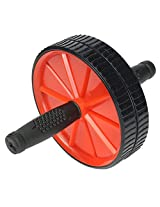 Dual Abdominal Roller Wheel With Pad Exercise Fitness Gym (Color: Red)