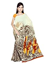Sonal Trendz Beige & Yellow Color Printed Georgette Saree with Blouse