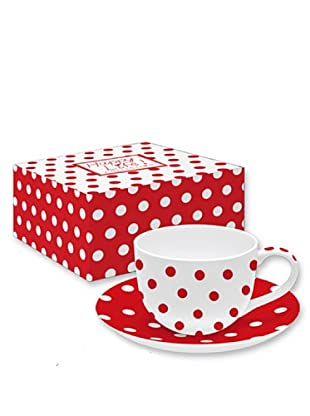 Easy Life Design Tazza da Tè con Piatto in Porcellana Bone China Happy Pois (Rosso)