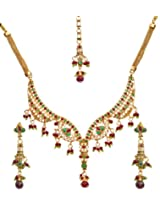 Exotic India Tri-Color Polki Necklace Set with Mang Tika - Copper Alloy with Cut Glass