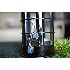 Gajgauri Silver Earring With Blue Stone