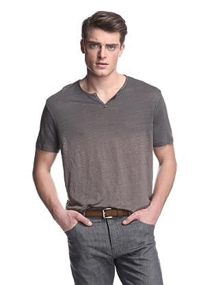 John Varvatos Collection Men's Short Sleeve Notched Crew Neck Knit (Taupe)