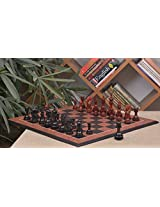 Chessbazaar Combo Of Dragon Series Chess Pieces In Ebony / Bud Rose Wood & Black Anigre Red Ash Burl With Moulded Edges Board