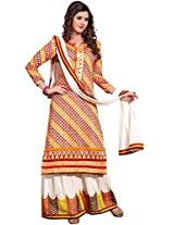 Manvaa Multi Color straight cotton embroidered salwar suit