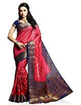 Meghdoot Artificial Silk Saree (VIVAAH_MT1246_CHERRYxBLUE Woven Pink and Blue Colour Sari)