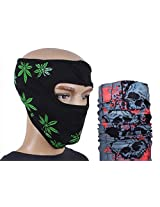 Jstarmart Black With Green Print Face Mask Combo 9 In 1 Bandana