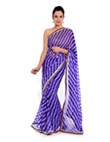 Geroo Purple pure Georgette lehriya saree with embellishment on lehria print
