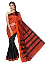 Korni Cotton Silk Banarasi Saree SHDEQ-325- Blk/Red KR0483
