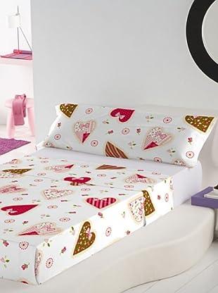 Holly Hobbie Juego de Sábanas HH Valentine 1 Rot. (Multicolor)