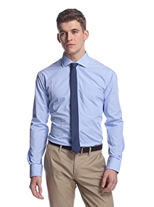 Oxxford Men's Sport Shirt with Spread Collar (Light Blue Mini Check)