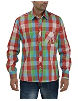 Maxx Shirts Men's Slim Fit Shirt (MX019, Green and Red, 42)