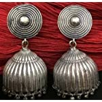 Oxidised german silver jhumka with pure silver coating