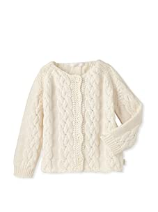 Chloe Girl's Cable Knit Cardigan (Ivory)