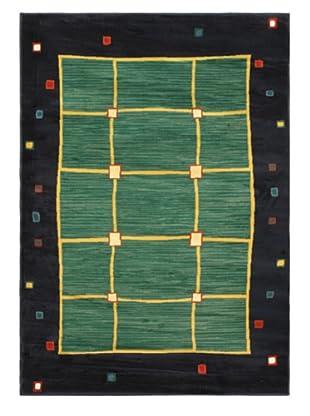 Lotus Mod Rug, Dark Navy/Teal, 5' 3