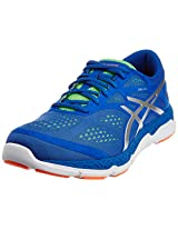 ASICS Men's 33-Fa Blue, Silver and Flash Green Mesh Running Shoes - 10 UK