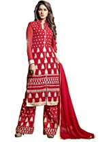 Red Colour Foux Georgette Party Wear Heavy Paisley Zari Embroidery Plazo Suit 1007
