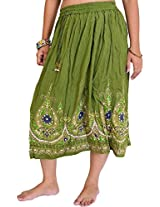 Exotic India Midi-Skirt with Printed Flowers Embellished with Sequins - Color Forest GreenGarment Size Free Size