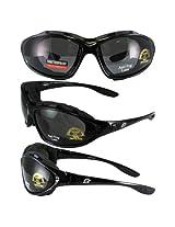 Birdz Eyewear Thrasher Padded Motorcycle Glasses-Convert-to-Goggles (Black Frame/Smoke Lens)