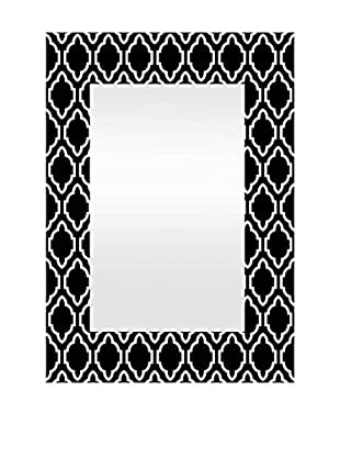 Three Hands Wood Framed Mirror, Black/White