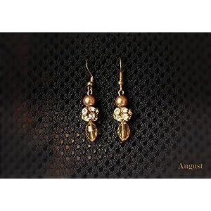 August by Ritu Cipy Drop Crystal And Pearl Earrings