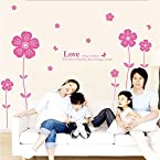 Pink Love Flowers Wall Sticker from Decal Dzine