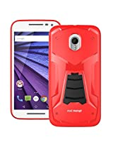 Moto G 3rd Generation Back Cover / Case - Moto G3 Back Cover / Case - TransArmor TPU Back Cover with Kick Stand for Motorola Moto G3 / Gen 3 - Fiery Red