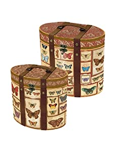 Punch Studio Set of 2 Nesting Oval Boxes with Metal Hinges (Butterfly)