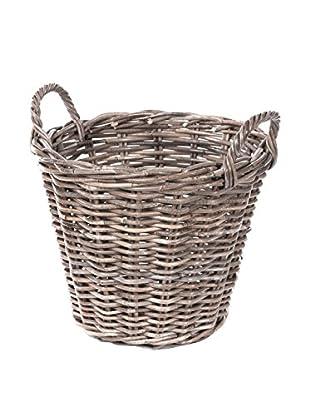 Skalny Round Rattan Basket, Grey