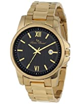 Lucien Piccard Men's 10048-YG-11 Breithorn Black Textured Dial Gold Ion-Plated Stainless Steel Watch