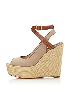 Rosegold Women's Leo Peep-toe Espadrille (Light Taupe/Tan)