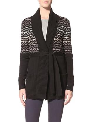 Suss Knitwear Women's Robin Jackquard Shawl Collar (Black)