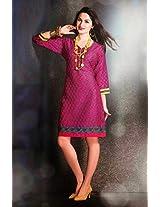 Cotton Jacquard Print Pink Stitched Frock Style Kurti - 29245 - L