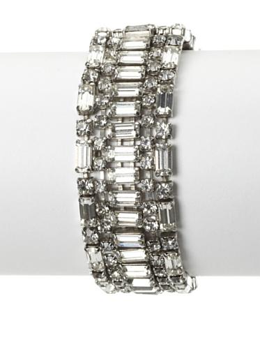 Lulu Frost 1920's Art Deco Crystal Bracelet, Silver