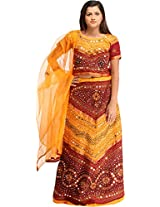 Exotic India Lehenga Choli from Rajasthan with Thread Embroidery and Large Sequi - Color Orange And MaroonColor Free Size