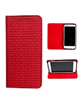 DooDa PU Leather Flip Case Cover For Micromax Canvas Doodle A111 (Red)