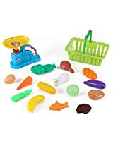Supermarket Grocery Basket and Weight Scale Kitchen Food Playset for Kids with Fruits & Vegetables