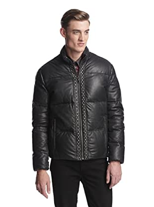 Versace Collection Men's Leather Puffer (Black)