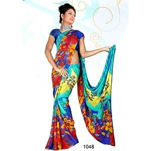 Floral Indian Designer Georgette Printed Saree By Variation