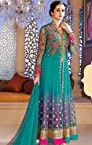 Luscious Bluish Purple & Cyan Blue Unstitched Salwar Kameez- Anarkali Suit
