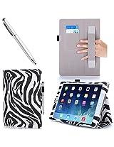 iPad Air 2 Case, i-Blason Apple iPad Air 2 Case [2nd Generation] Auto Wake/ Sleep Smart Case Leather Case (Elastic Hand Strap, Multi-Angle, Card Holder) With Bonus Stylus (Multi-Color to Choose From) 3 Year Warranty (Black) (iPad Air 2, Zebra)