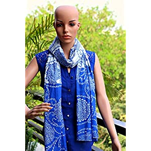 Insyync Blue and White Cotton Scarf